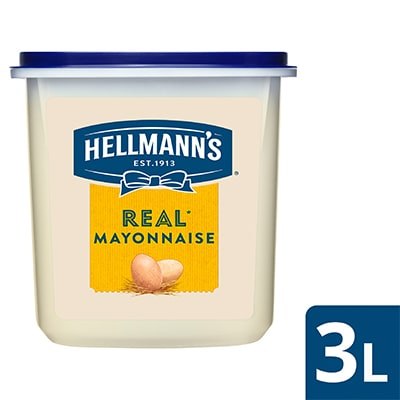 Hellmann's Real Mayonnaise Tub 3L - Hellmann's Real Mayonnaise, with a delicious balanced taste and a creamy texture, the best choice for your cooking!