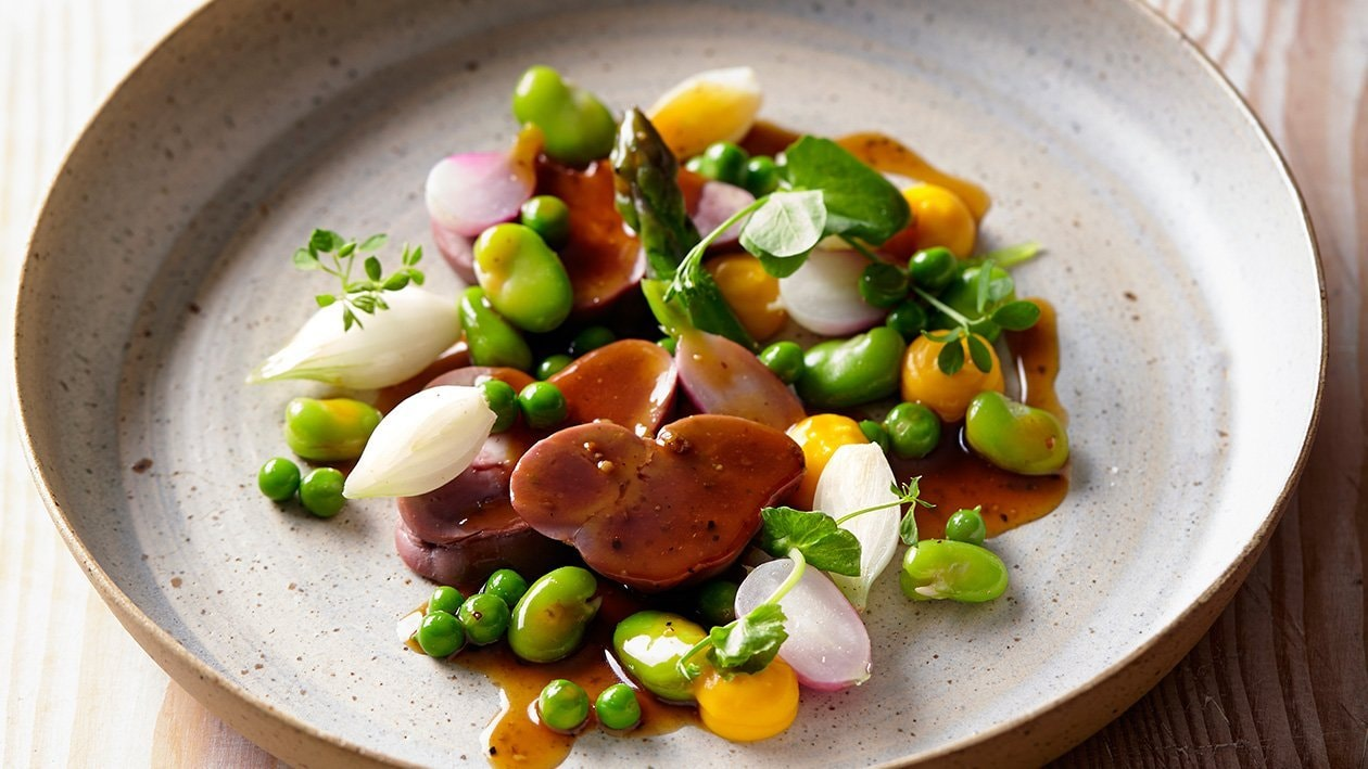 Veal Kidneys with Pepper Sauce and Spring Vegetables
