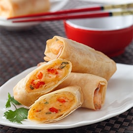 Mayo Spring Rolls With Peanut Sauce